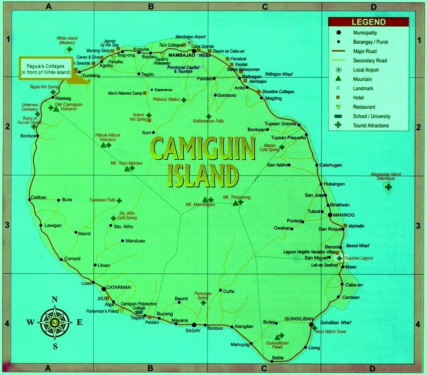 Map of Camiguin PAGUIAS COTTAGES Offers Camiguin CDO Bukidnon